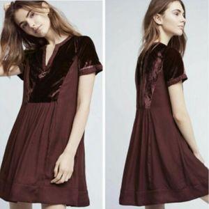 Anthropologie Maeve Crushed Velvet Tunic Dress S